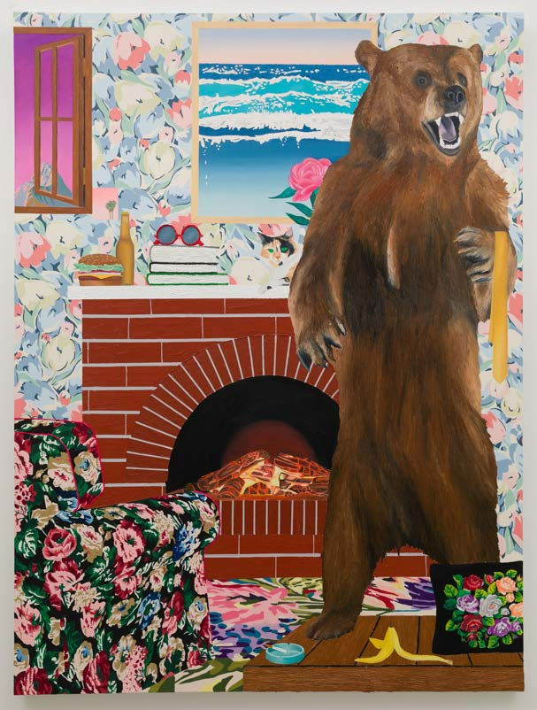 Alec Egan, Living Room, 2019, oil and flashe acrylic on canvas, 96x72 inches, collection of Tim Walsh and Mike Healy