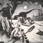 Thomas Hart Benton, Huck Finn , 1936, lithograph on paper, 17 1/2 x 21 3/4 inches, Collection of the Dubuque Museum of Art. Gift of Marian Powers - Needles and Belverd E. Needles, Jr