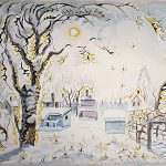Charles Burchfield, Diamonds in the Snow, 1959, watercolor on paper, 18 x 21 3/4 inches, Collection of the Dubuque Museum of Art. Cora Gordon Memorial Purchase, In memory of Mrs. Florence Graybeal.