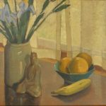 Marvin Cone, Still Life with Fruits and Flower,ca. 1929-30, oil on canvas, 16 x 18 inches, Collection of the Dubuque Museum of Art. Gift of Dr. Randall Lengeling.