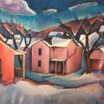 Adrian Dornbush, January Twilight, September 1926, oil on canvas, 18 x 24 inches, Collection of the Dubuque Museum of Art. Gift of Dorothy McDonald.