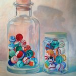 Sr. Helen Kerrigan, Marbles in Two Glass Jars, 1993, acrylic on canvas, 57 3/4 x 42 inches, Collection of the Dubuque Museum of Art. Gift of the Robert Cronin Family.