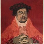Diego Lasansky, Martin Luther in Red, 2016, 5 copper plate color intaglio, 24 x 20 inches, Collection of the Dubuque Museum of Art. Gift of the artist in honor of Jim Welu.