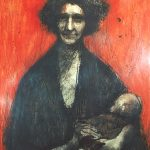 Francesco Licciardi, Mother with Child, n.d., oil and charcoal on Masonite, 48 x 36 inches, Collection of the Dubuque Museum of Art. Gift of C. Robert Justmann & Family.
