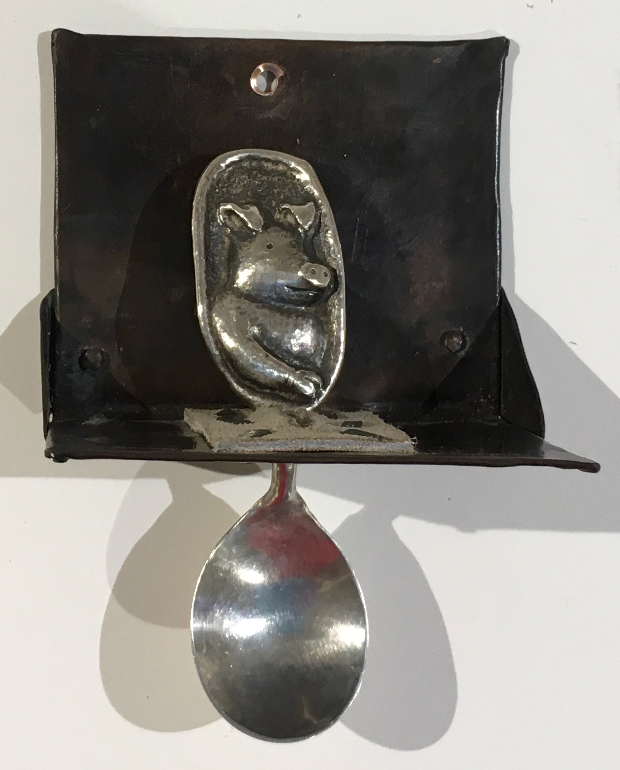 Linda Kelen, Pig Spoon, 2018, sterling silver, 3x3x2.5 inches, collection of the artist