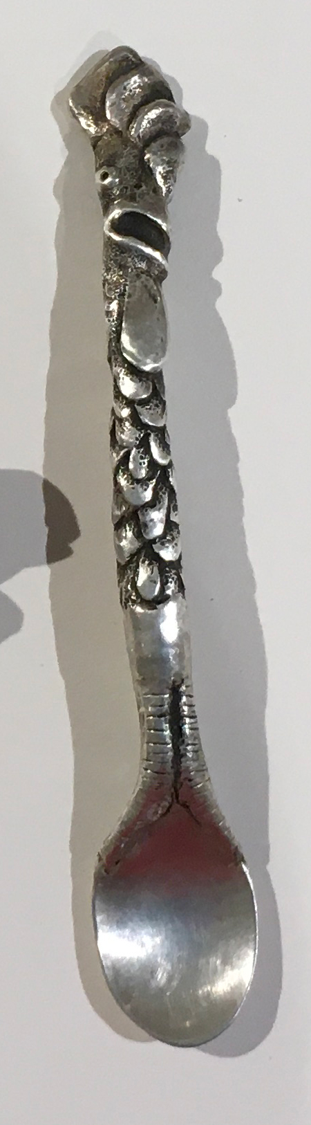 Linda Kelen, Rooster Egg Spoon, 2019, sterling silver, 5.75 inches, collection of the artist