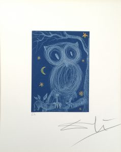 Salvador Dali, La Petite Chouette (The Little Owl), E.A., 1968, color intaglio on paper, 6 7/8 x 4 7/8 inches, Gift of Father Daniel Rogers, 2014.7