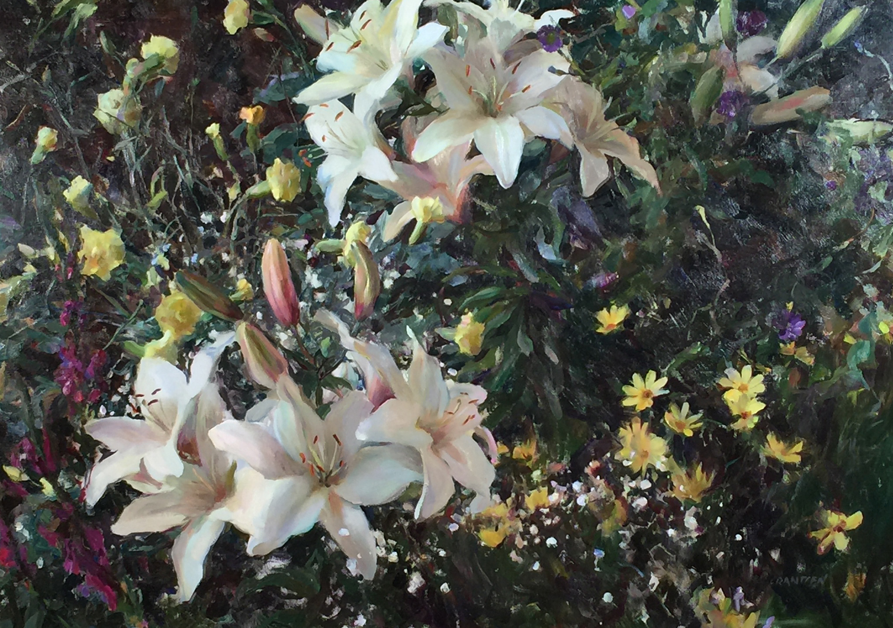 Rose Frantzen, White Lilies, n.d., oil on canvas, 23 3/4 x 33 1/2 inches, Gift of Dr. Randall Lengeling, 2015.25