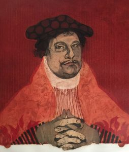 Diego Lasansky, Martin Luther in Red, 21/50, 2016, 5 copper plate color intaglio (hard ground, soft ground, engraving, scraping, and burnishing), 24 x 20 inches, Gift of the artist in honor of Jim Welu, 2017.2