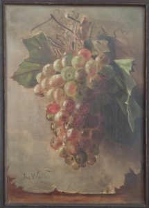 Joseph Walter, Still Life with Grapes, 1900, oil on canvas, 11 x 7 3/4 inches, Gift of the family of Robert A. McCarron, assistant of Joseph Walter, 2018.1