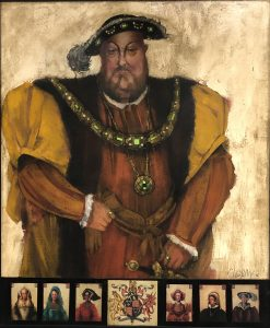 Mary Kline Misol, Henry VIII (Monarch and the Maid Series), 2006, oil and collage on canvas, 59 3/4 x 49 3/4 inches, Gift of Anonymous Donor, 2020.1