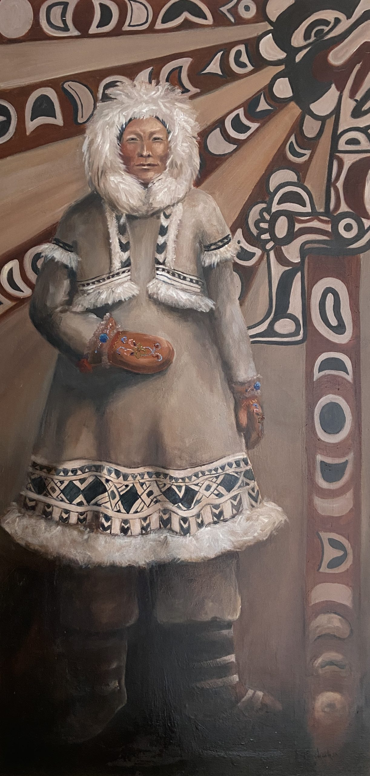 Janet Checker, Athabaskan, 2001, Oil on canvas, 48 x 24 inches, Collection of the artist