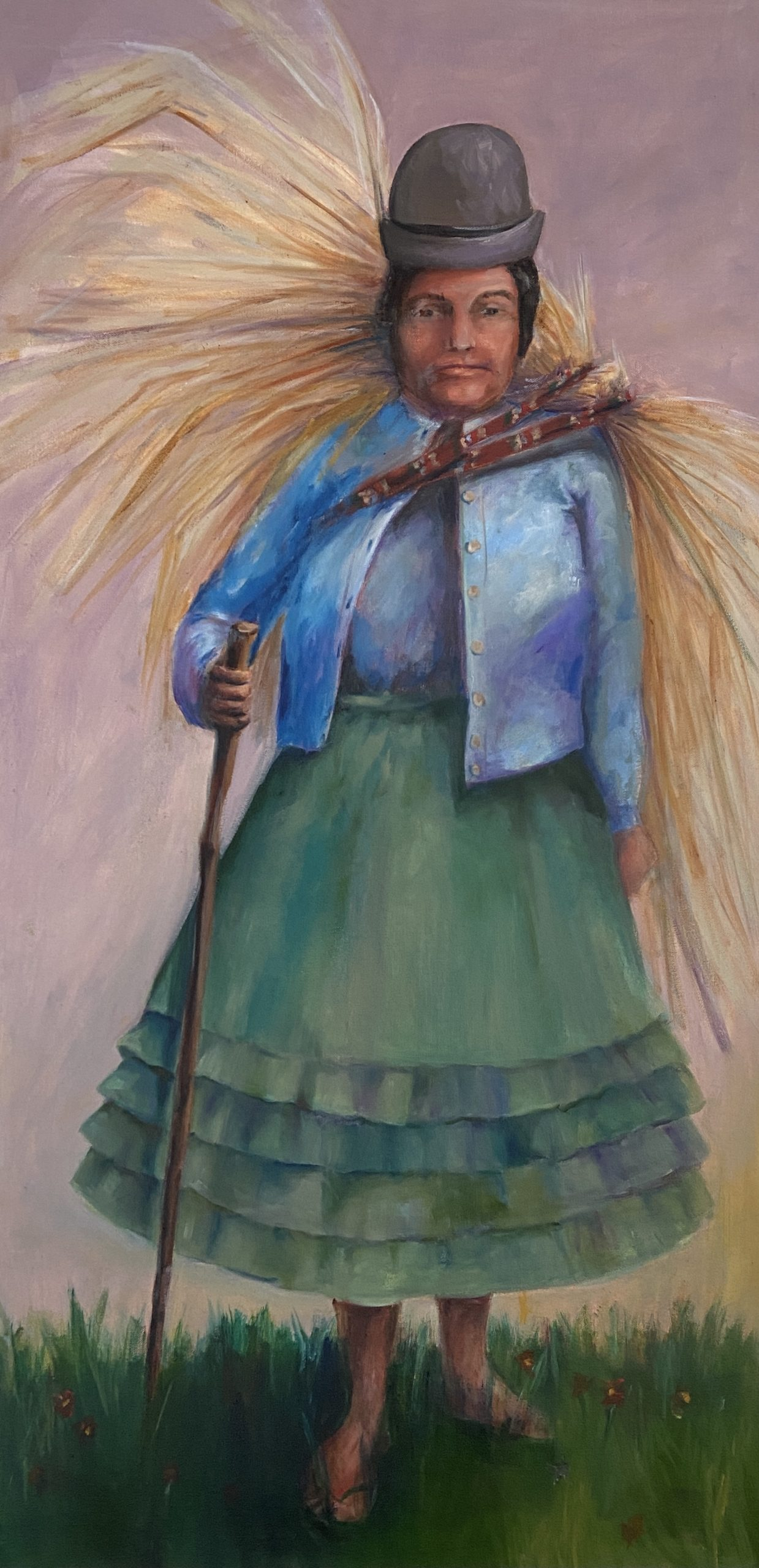 Janet Checker, Bolivia, 2021, Oil on canvas, 48 x 24 inches, Collection of the artist