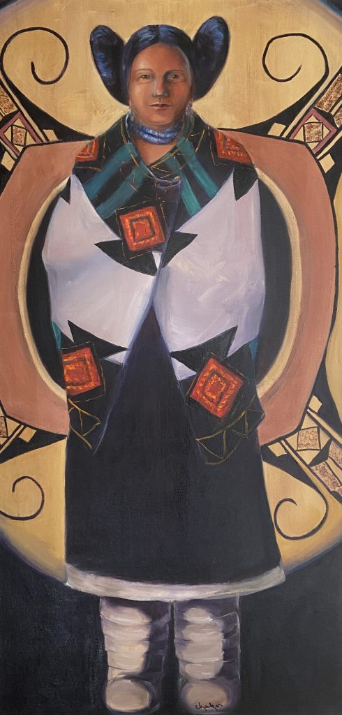 Janet Checker, Hopi, 2003, Oil on canvas, 48 x 24 inches, Collection of the artist