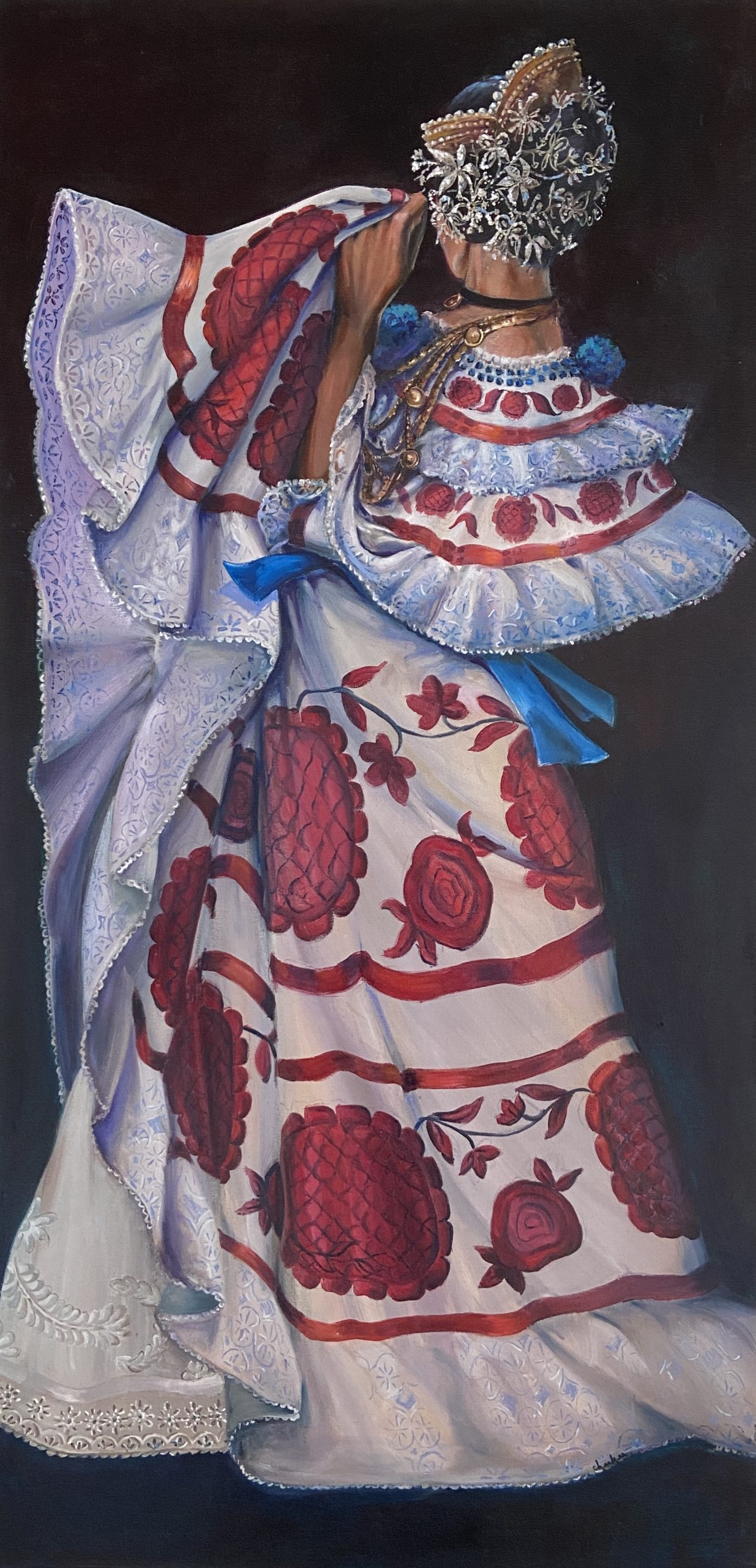 Janet Checker, Panama, 2002, Oil on canvas, 48 x 24 inches, Collection of the artist