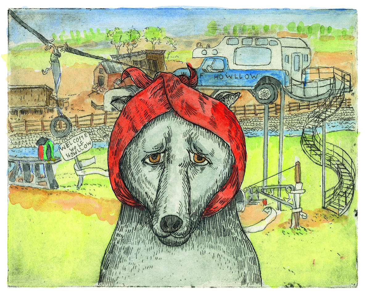 Arthur Geisert, How the Big Bad Wolf Got His Comeuppance, 2020, jacket cover, hand-colored etching on paper, 2021.2.1
