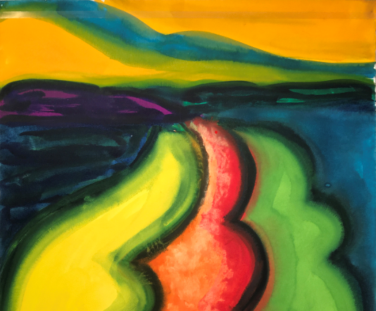 """Image Credit: David Hayes (America, 1931-2013) """"Landscape,"""" 1982 Gouache on Arches paper, 297⁄8 x 221⁄4 inches, Gift of Estate of David Hayes, 2019.19."""